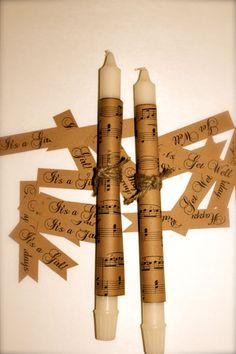 Wedding Candles  Sheet Music Notes  Set of 4  by sugarplummoose, $8.00