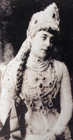 Duchess of Leuchtenberg in Boyar costume. Wearing and array of Diamond and emerald jewellery.