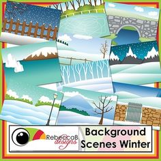 Background Scenes Winter contains 10 colored and 10 black and white background scenes for your products. Simply place your text and clip art over the background scene to create outstanding product covers, posters and other teaching resources. This pack also includes 5 edge frames to highlight your product even further.