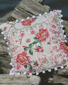 Pillows made with vintage hankies