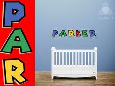 Super Mario Custom Name Vinyl Wall Decal in Nintendo letters for nursery or kid's room. $45.00, via Etsy.