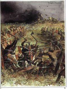 """the Battle of Brunanburh by Gerry Embleton. The Battle of Brunanburh(fought near the river Dee, Wales) was an English victory in 937 by the army of Æthelstan, King of England, and his brother Edmund over the combined armies of Olaf III Guthfrithson, the Norse–Gael King of Dublin; Constantine II, King of Alba; and Owen I, King of Strathclyde. Though relatively little known today, it was called """"the greatest single battle in Anglo-Saxon history before the Battle of Hastings."""