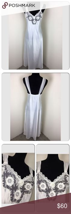 Vintage Christian Dior lingerie bridal nightgown Size small. No flaws. Satiny smooth finish and floor length gown with rosettes on the bust, mesh detailing and chiffon shoulders. This gown is made in the USA and has the vintage union emblem. Perfect for a bride. Stunning. Christian Dior Intimates & Sleepwear Pajamas