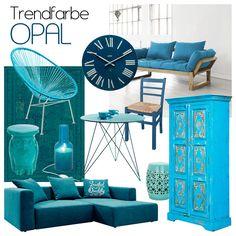 Opal ist die Trendfarbe 2014. In der Farbwelt zwischen Blau und Grün angesiedelt, begleitet und inspiriert sie uns bereits seit dem Mittelalter. Doch dieses Jahr schlägt ihre größte Stunde: Opal hält triumphal Einzug in die Fashion- und Designwelt. Ab sofort heißt es: Opal so weit das Auge reicht! Geh mit dem Trend und begrüße den majestätischen Farbton auch in deinem Zuhause!