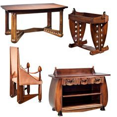 Extremely Rare Furniture Set by Michel de Klerk, Amsterdam School at ...