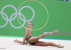 Belarusian athlete Melitina Staniouta (Stanyuta) with a hoop in the rhythmic gymnastics individual all-around final (Rotation 4) at Rio Olympic Arena at the 2016 Summer Olympic Games. Stanislav Krasilnikov/TASS