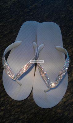 08acaa7134e41 Cariris Brazilian Rubber Swarovski Bling Bridal Flip Flops.  50.00