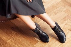 Winter Sale 15% Off //  Black Leather Boots, Ankle Boots, Lace-Up High Heel Boots, Leather Boots by OliveThomasShoes on Etsy https://www.etsy.com/listing/257973402/winter-sale-15-off-black-leather-boots