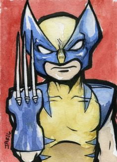 Wolverine Watercolor Sketch Card Painting by JAR0fComics2 on Etsy