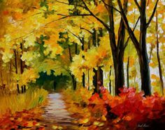 Painted Canvas Wall Art Autumn Painting By Leonid Afremov