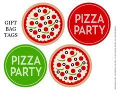 Pizza Party Printables Gift Bag Tags
