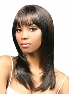 Medium Length Brown Straight with Bang Synthetic Wig