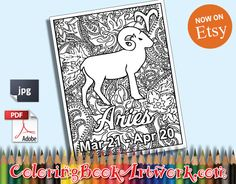 Aries Zodiac Sign Printable Adult Coloring by ColoringBookArtwork