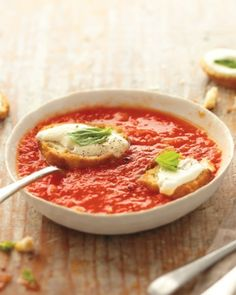 Tomato with Mozz croutons http://www.wholeliving.com/185174/10-pureed-soup-recipes