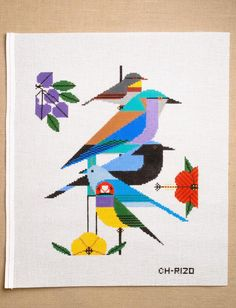 Adapted from the iconic art of Charley Harper this needlepoint canvas-only includes the canvas, hand-painted by needlepoint professionals. Cross Stitch Bird, Cross Stitching, Cross Stitch Patterns, Needlepoint Designs, Needlepoint Canvases, Viking Symbols, Mayan Symbols, Egyptian Symbols, Viking Runes