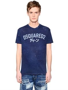 DSQUARED2 Logo Printed Washed Cotton Blend T-Shirt, Blue. #dsquared2 #cloth #t-shirts