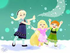 SNOWIIIIIING!!!! by Eungalchi Rapunzel w/ Elsa and Anna!!! XD <3