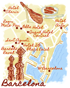 Barcelona map by Robert Littleford. February 2015 issue