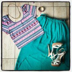 Summer fashion aztec pink crop top and RiverIsland high low skirt with Aldo white sandal heels. #ellebelleWears #ellebelle