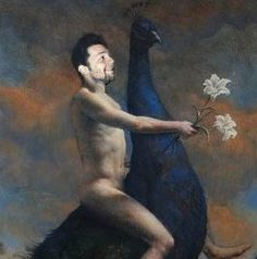 Nude ScoDal riding Giant Peacock