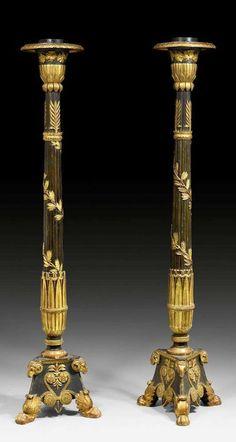 "1 PAAR GEFASSTE PORTE-TORCHEREN ""A L'ANTIQUE"", Empire, Paris, um 1810/20. H. - 198 cm"