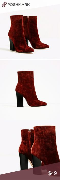 """High Heel Velvet Ankle Boots Heel Height of 10.7 cm / 4.2"""" New with tags! Zara Shoes Ankle Boots & Booties"""