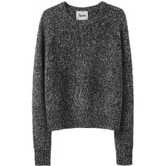 Acne Ruth Twist Sweater ($270) ❤ liked on Polyvore featuring tops, sweaters, shirts, jumpers, long shirts, crew neck shirt, crew neck sweaters, long sweaters and long-sleeve peplum top