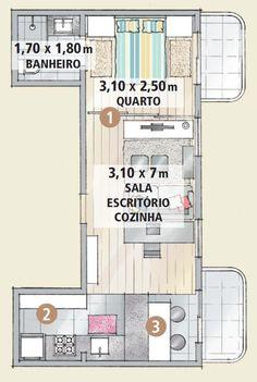 Apartamento antigo é reformado e fica com jeitão de loft - Passagem livre em 40 m². O quarto cedeu 5,50 m² m à sala. Abriu-se mão da parede que definia essas áreas, mas não da privacidade: quando quiser, o morador pode fechar as portas de correr (1) entre os ambientes. A cozinha, que se limitava a um anexo do retânguloprincipal (2), avançou em direção à sala. Excluiu-se o antigo canto do jantar e a mesa de refeições foi acoplada ao balcão (3)