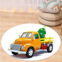 Kisscase Custom carpetChristmas Yellow Vintage Truck and Decorated Xmas Tree with Star Topper Old Farm Motor Bedroom Living Room Dorm Decor White Yellow Green *** You can find out more details at the link of the image.