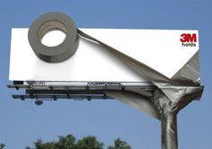 """Die Message ist klar! """"3M hält."""" Mit dieser Sensation Marketing Kampagne hat 3M den Vogel abgeschossen. Das Klebeband hält die ganze Plakatwand zusammen! Genial!"""