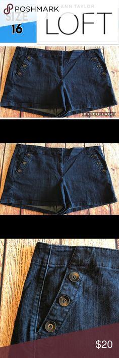 """LOFT Original Dark Denim Shorts Size 16 Excellent Condition. Approximate Measurements: Waist - 41"""", Inseam - 3.5"""", Rise - 10.5"""". LOFT Shorts Jean Shorts"""