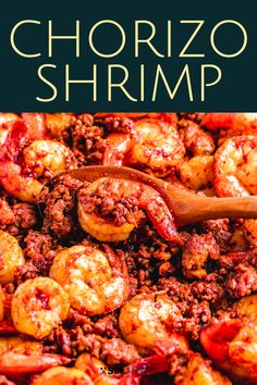 Spanish Shrimp Tapas With Chorizo and Lemon This shrimp and chorizo recipe has only 5 ingredients, is easy to make, yet has so much delicious flavor! Make it as an appetizer or double it up and serve with rice for an easy weeknight meal. Pork Chorizo Recipe, Chorizo Recipes, Pork Recipes, Cooking Recipes, Recipies, Mexican Shrimp Recipes, Shrimp Recipes For Dinner, Seafood Recipes, Appetizer Recipes
