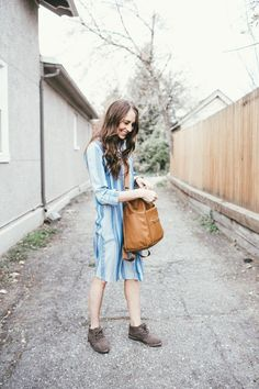Burlap oxford booties! Love them paired with the brown Fawn Design bag and the dress.