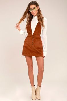 Free People Old School Love Rust Orange Corduroy Pinafore Dress 2 Black Dress Outfits, Fall Outfits, Cute Outfits, Fashion Outfits, Skater Outfits, Emo Outfits, Disney Outfits, Women's Fashion, Pinafore Dress Outfit