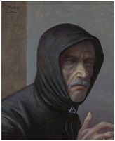 Volker STELZMANN, self-portrait with hood, ('Selbstbildnis mit Kapuze'), 2014