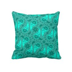 Blue Floral Paisley Decorative Throw Pillow  #forthehome #decor #pillows