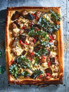 Lamb Eggplant And Kale Tart | Donna Hay