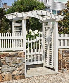Brookfield Arbor with Westchester Gate | Wood Arbors and Solid Cellular PVC Arbors from Walpole Woodworkers
