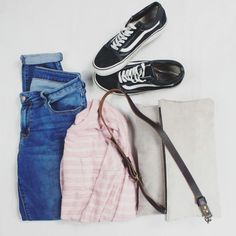 Pink Striped sweater, destroyed denim, boyfriend jeans, grey suede foldover crossbody bag, old skool vans, black skate shoes, outfit inspiration, flat lay, women's clothing, weekend outfit, fall clothing, fall outfits