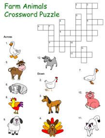 Printable farm animals themed crossword puzzles for kindergarten and elementary school children to print and color; picture clue and word clue options available. Farm Animal Crafts, Animal Crafts For Kids, Farm Animals, Kids Crossword Puzzles, Puzzles For Kids, Farm Activities, Animal Activities, Animal Worksheets, Vocabulary Worksheets