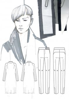 Fashion sketchbook drawing and fabric samples by Mirjam Maeots Illustration Mode, Fashion Illustration Sketches, Fashion Sketchbook, Fashion Sketches, Fashion Drawings, Sketchbook Layout, Sketchbook Drawings, Sketchbook Inspiration, Fashion Portfolio Layout
