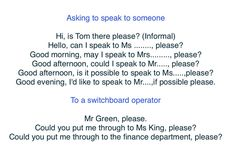 Telephone English: Asking to speak to someone