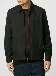Black Western Zip Through Long Sleeve Casual Overshirt Shirt Jacket, Shirt Outfit, Asos, Leather Jacket, Zip, Long Sleeve, Casual, Sweaters, Jackets