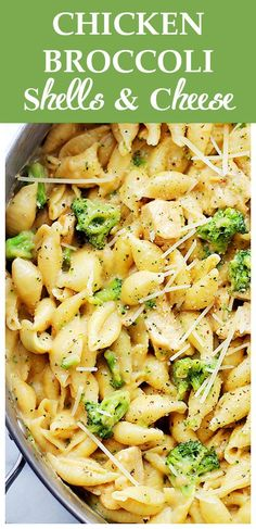 Chicken-Broccoli Shells and Cheese | www.diethood.com | Homemade, lightened-up shells and cheese, tossed with chicken and broccoli florets.