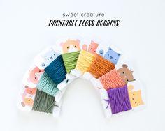 Printable Animal Floss Bobbins