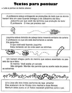 Atividades para imprimir do 3º ao 5º anos sempre a mão: Sinais de pontuação / atividades