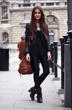 Pleather/Leather jacket + Plain T + Black Leggings + Booties, all black is always a must-have outfit in our wardrobes.   Like this look? Shop similar leggings from My House of Chic on Amazon! Our top rated leggings come in multiple colors, and sizes. Check it out!