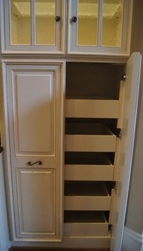 Pull out pantry shelves are essential in maximizing large pantry cabinet space. These drawers make organizing pantry items easy. They are refinished inside to a factory smooth finish just as the outside of the cabinets.
