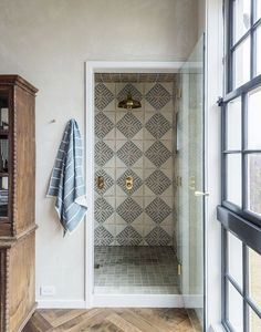 master bathroom shower with gorgeous moroccan tile | full house tour on coco kelley