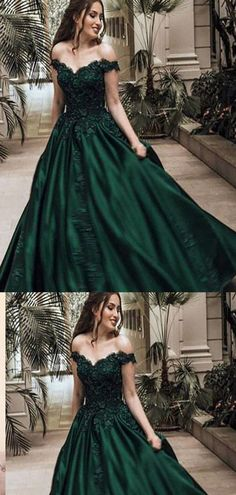 Off-the-Shoulder Emerald_green Lace Long Prom Dresses ,Cheap Prom Dres – prommode